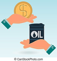 A barrel of oil and the dollar gold coin in hands. Oil market. Illegal sale of oil.