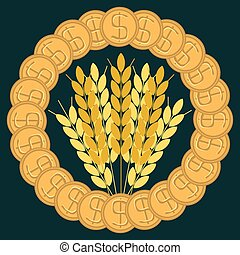 Ears of wheat in terms of gold dollar coins. The purchase of food. Bakery. Humanitarian assistance. The grain market.
