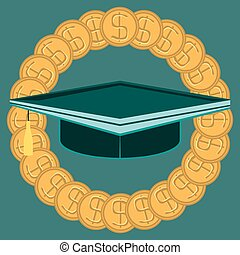 Graduate hat in the circle of gold dollar coins. Paid education. Knowledge for money. Buy a diploma.