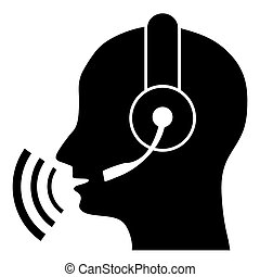 Silhouette of a head with headphones and sound waves. Listen to the music. Call center.