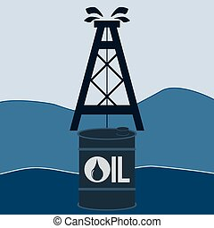 A barrel of oil and an oil derrick. Petroleum exchange. Oil production in the sea, on the shelf. The production of hydrocarbons.