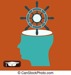 The helm of the ship in an open head. Thoughts of the voyage. Buy yacht.