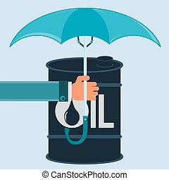 A barrel of oil under an umbrella. Protection of oil...