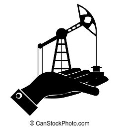Silhouette of oil rig at hand. Exchange, buy oil. The market of hydrocarbons.