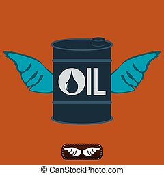 Oil barrel with wings. Oil production. The rise in oil prices. Refinery. The shipment of oil.