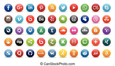 50 social icons - 50 social media icons set isolated on...