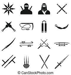 Ninja black simple icons set isolated on white background