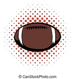 American football comics icon. Oval ball for american...