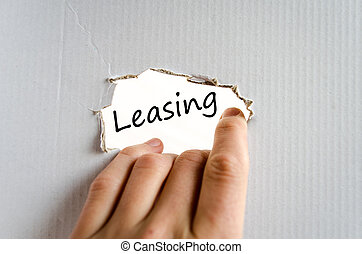 Leasing text concept isolated over white background