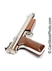 Pellet Pistol - Silver air gun gun with wooden grips and...