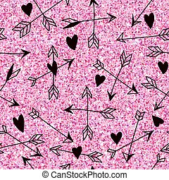 Valentine's Day Heart Pink Glitter Pattern - Seamless Background - in vector