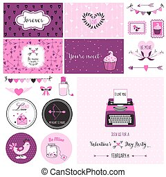 Cute Valentine's Day and Love Scrapbook Set - for design, invitation in vector