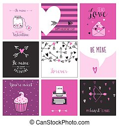 Cute Valentine's Day and Love Set - Set of Cards, Tags and Labels - in vector
