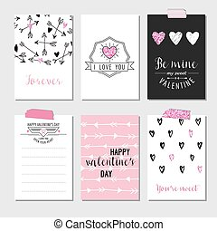 Set of Love Cards with Pink Glitter - Wedding, Valentine's Day, Invitation - in vector
