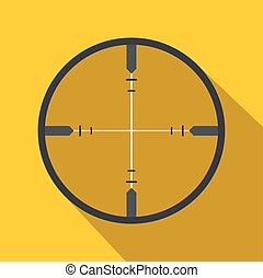 Crosshair flat icon on a yellow background