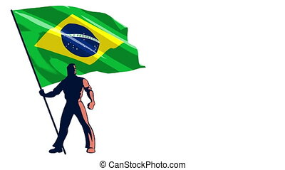 Flag Bearer Brazil - Isolated flag bearer holding the flag...