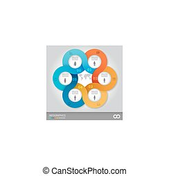 linked circles presentation template - 6 options linked...