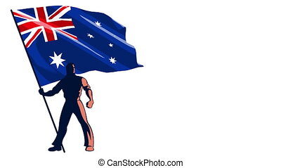 Flag Bearer Australia - Isolated flag bearer holding the...