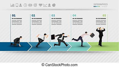 Presentation Template of a progress illustrated with...