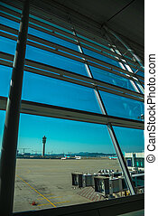 See through glass window from air port louge view - See...