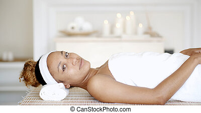 Woman Is Resting On Spa Bed