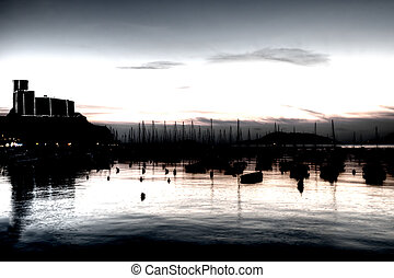 Evening Lerici castle and boats, Liguria, Italy Artistic...