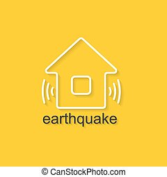 Natural Disaster Icon - Flat linear illustration on yellow...