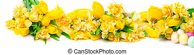 Daffodils, tulips, Easter eggs, banner