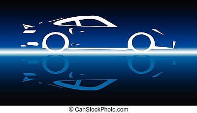 Fast Car Reflection - A fast car in silhoueyye and...