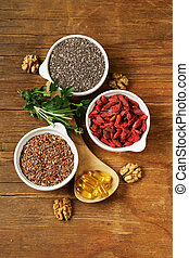 Super food - goji berries, chia seeds, flax seeds, walnuts...