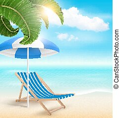 Beach with Palm Clouds Sun Beach Umbrella and Beach Chair. Summer Vacation