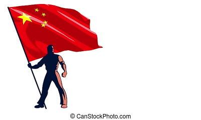 Flag Bearer China - Isolated flag bearer holding the flag of...