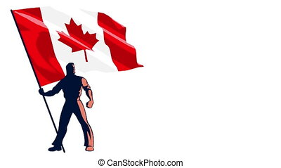 Flag Bearer Canada - Isolated flag bearer holding the flag...