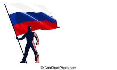Flag Bearer Russia - Isolated flag bearer holding the flag...
