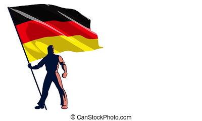 Flag Bearer Germany - Isolated flag bearer holding the flag...