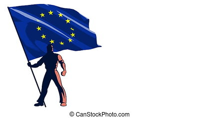 Flag Bearer European Union - Isolated flag bearer holding...