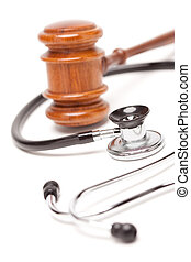 Black Stethoscope and Gavel on White - Black Stethoscope and...