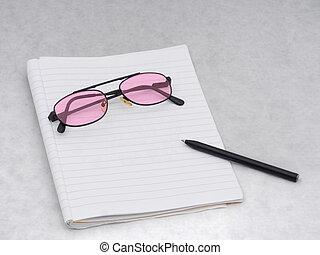 rosa, rosa, teñido, anteojos, con, cuaderno, y,...