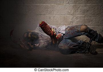 hombre, encadenado, con, sangre, y, cuchillo, tiene, Un,...