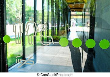 Baño, símbolo, en, vidrio, pared,