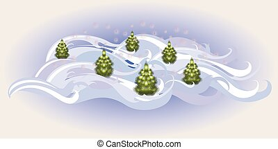 Winter landscape with Christmas trees. EPS10 vector illustration
