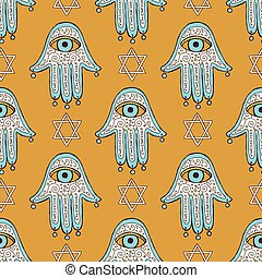 Sketch hamsa and david star in vintage style, vector...