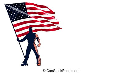 Flag Bearer USA - Isolated flag bearer holding the flag of...