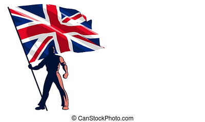 Flag Bearer United Kingdom - Isolated flag bearer holding...