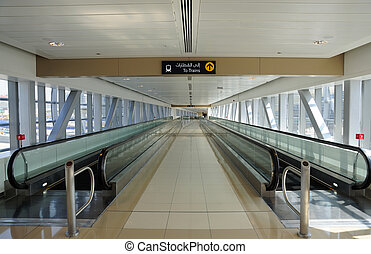 Moving Walkway at Metro Station in Dubai, United Arab...