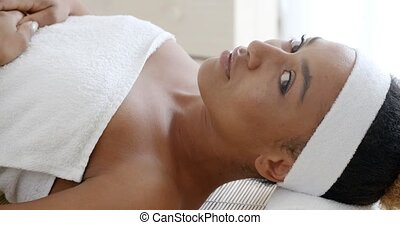 Woman Getting Ready For The Spa Treatment - Portrait of a...