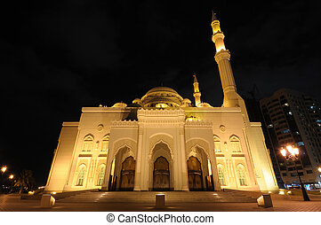 Al Noor Mosque in Sharjah at night. United Arab Emirates