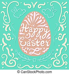 Vintage Happy Easter lettering in egg with rabbits Pasch...