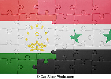 puzzle with the national flag of tajikistan and syria ....