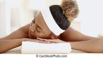 Young Girl At Spa Salon - African-american woman in spa...